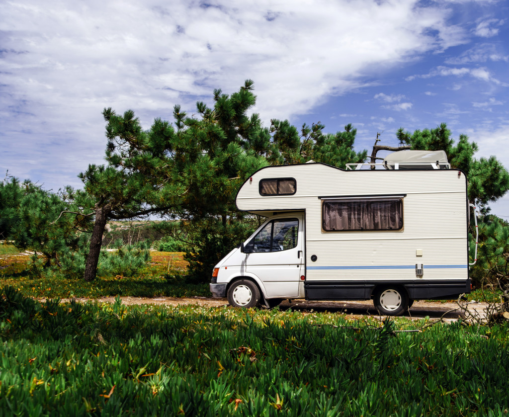 Touristic caravan staying in a forest.