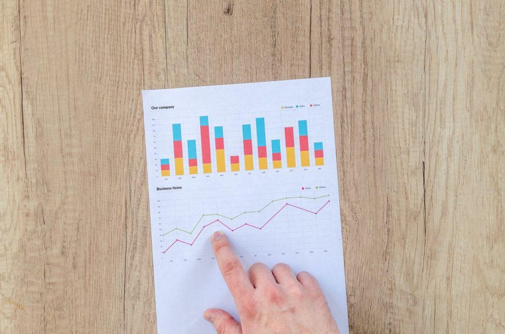 man pointing at graphs