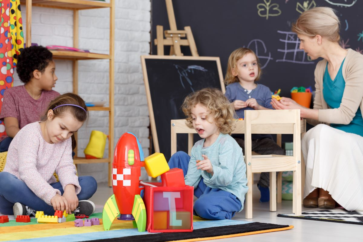 children playing day care center