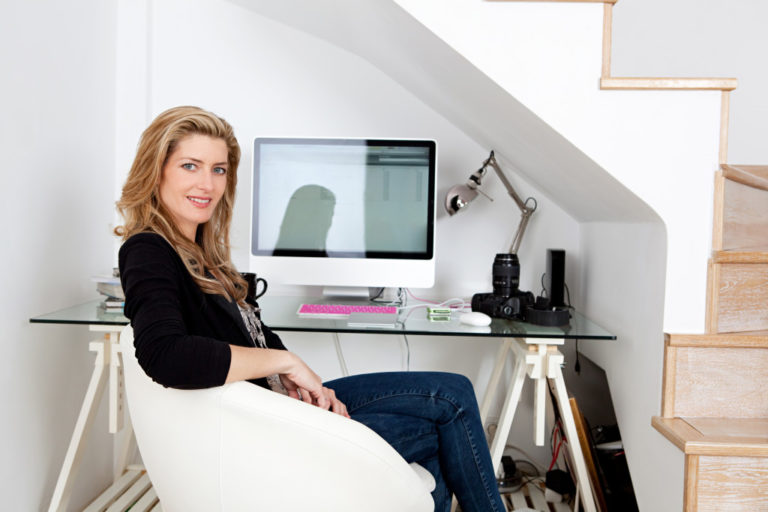 business owner working at home