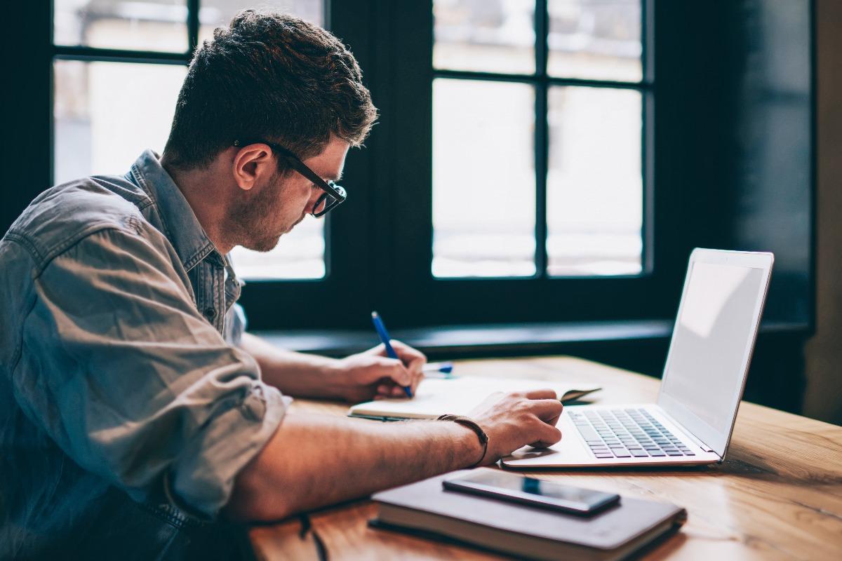 man working remotely