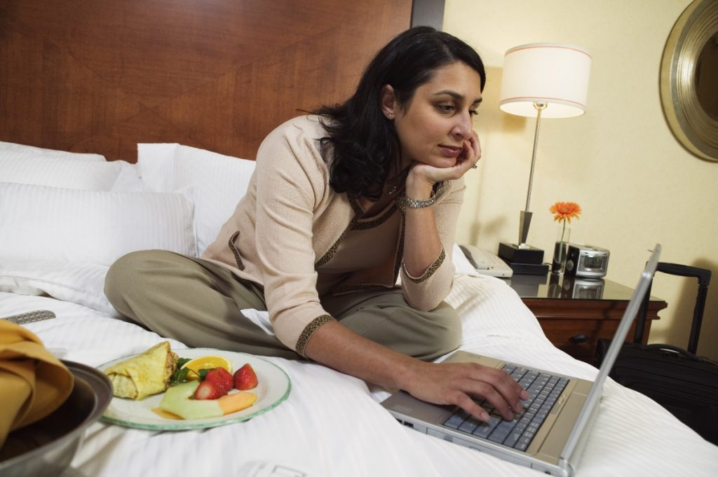 woman in a hotel