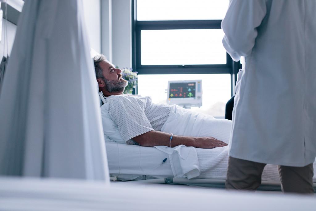 man hospitalized