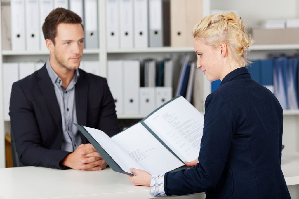 man in a job interview