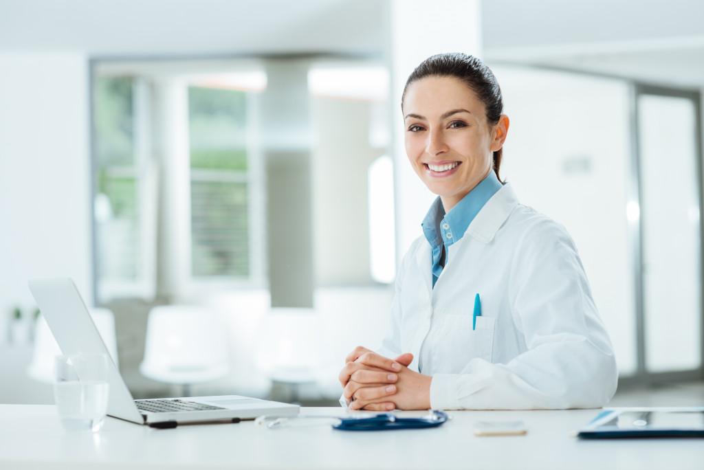 doctor on her desk